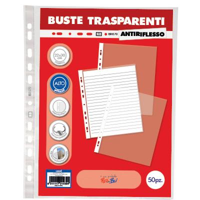 BUSTA PPL FORATURA UNIVERSALE 22X30/15 OFFICE LINE ANTIRIFLESSO PZ.50