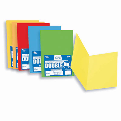 CARTELLINA SEMPLICE DOUBLE ASSORTITA 5 COLORI FORTI PZ.50