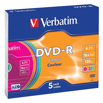 DVD-R 16X VERBATIM 4.7 GB COLOUR