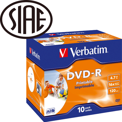 DVD-R 16X VERBATIM PRINTABLE 4.7 GB
