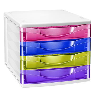 Cassettiere Per Ufficio Plastica.Cassettiera 4 Casseti Ceppro Happy Cm 36 8x30x26 5 Multicolor