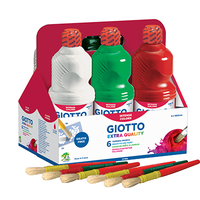 TEMPERA GIOTTO PRONTA 1000 ML COLORI ASSORTITI 6 FLACONI