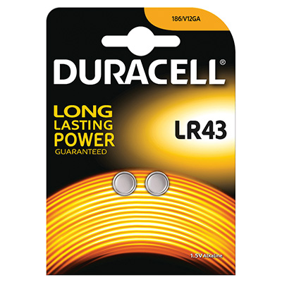 BATTERIA DURACELL PLUS POWER PASTIGLIA ALCALINA LR43 PZ.2