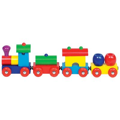 Trenino in legno colorato con magneti macchinine e piste 0 5 anni goki - Trenino di legno ikea ...